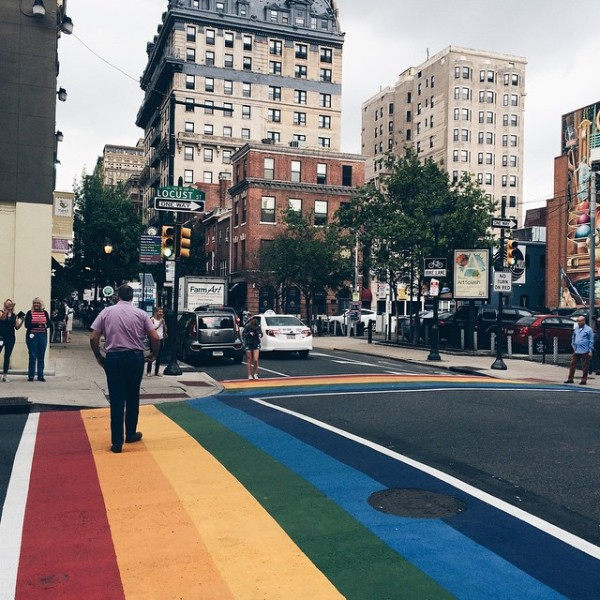 Without a doubt, THE most Instagrammed intersection in #Philadelphia today! #MarriageEquality